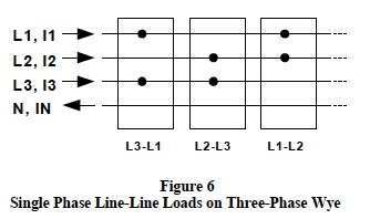 single phase line-line loads on three-phase wye