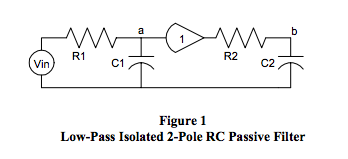 low-pass isolated 2-pole RC passive filter