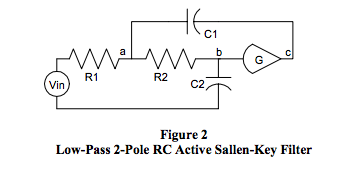 low-pass 2-pole RC active Sallen-Key filter