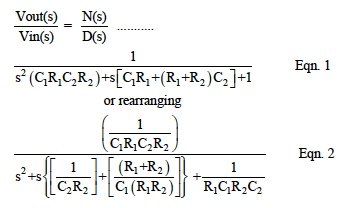 LP filter transfer function equations