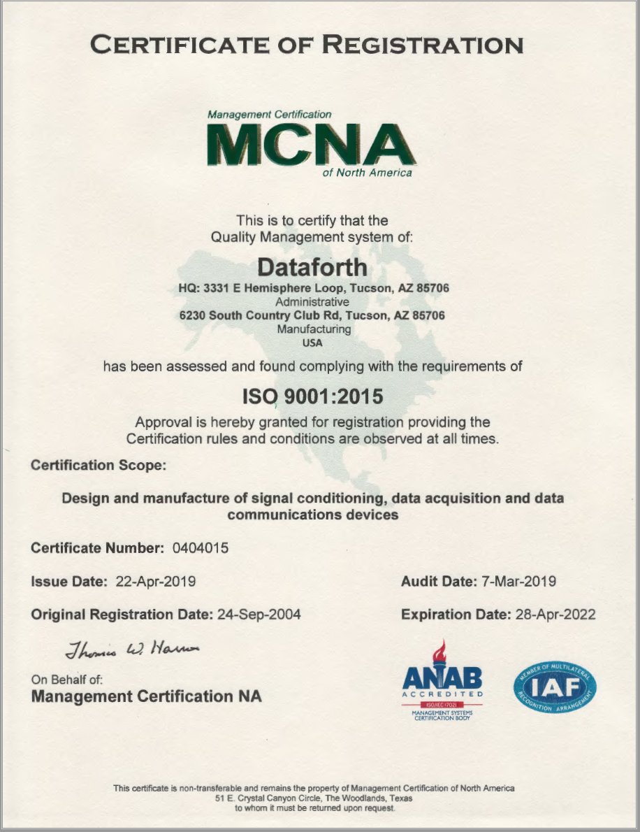 ISO 9001:2015 & RoHS Quality Compliance