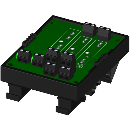 2-channel backpanel w/o cold junction compensation sensor, with DIN rail mounting option