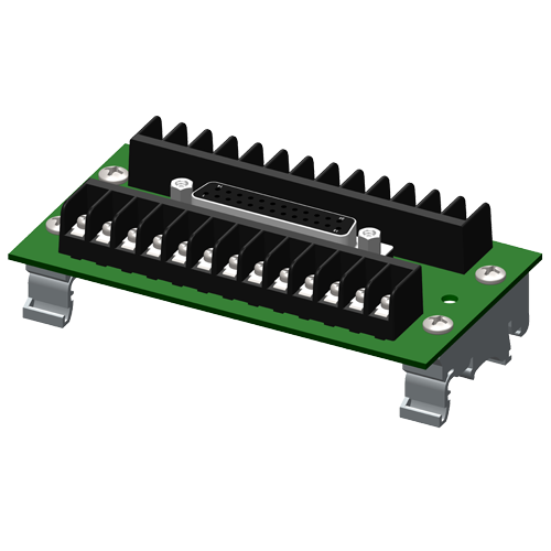 DB25 to screw terminal interface board for DIN rail