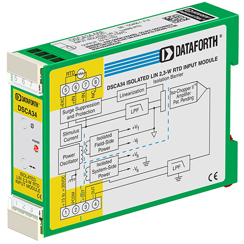 DSCA34-05E: Linearized 2- or 3-Wire RTD Input Signal Conditioner