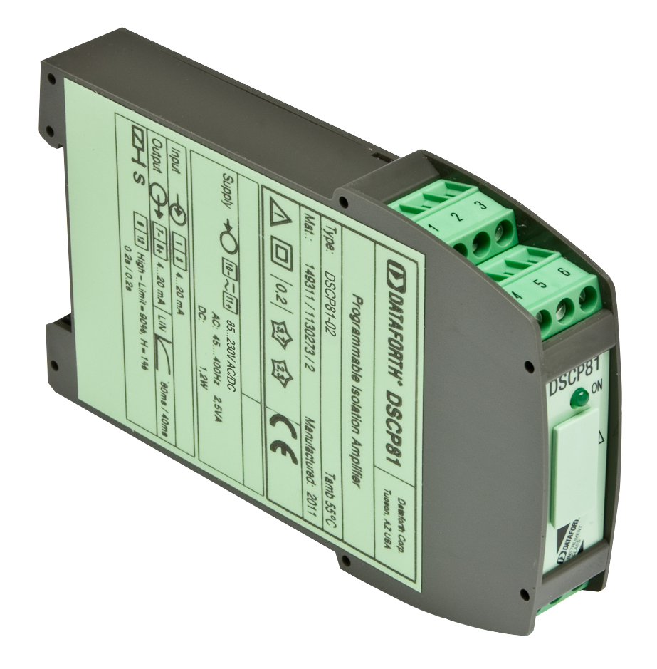 DSCP81-02: Configurable Voltage/Current Input Signal Conditioner, DIN Mount