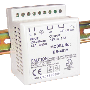PWR-4505: Power supply, 5A, 5VDC, 85 to 264VAC Universal, DIN mount, Switching power supply