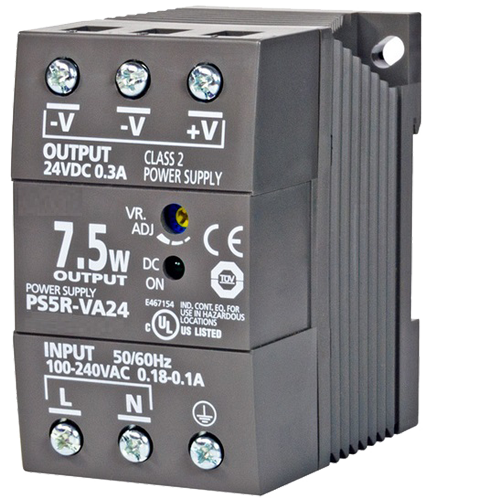 PWR-PS5R7W: Power Supply, DIN Rail Mount, 85-264 VAC 47-63 Hz In, 24 VDC 0.3 A Out