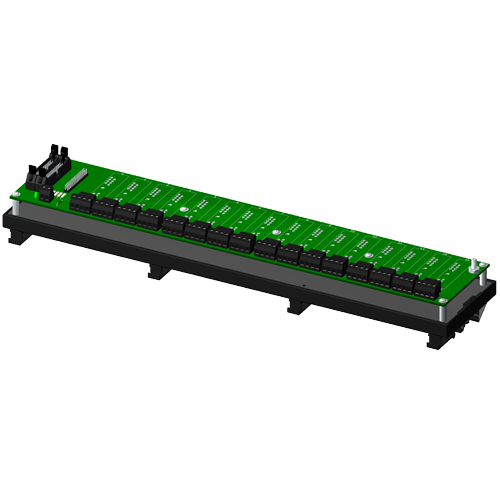 Non-multiplexed, 16 channel backpanel with DIN rail mounting option