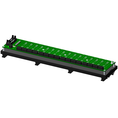 Non-multiplexed, 16 channel backpanel, no CJC, with DIN rail mounting option