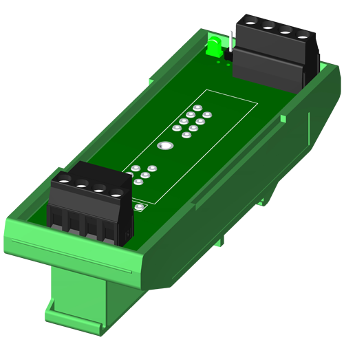 Single channel backpanel, DIN rail mount, for SCM5B modules