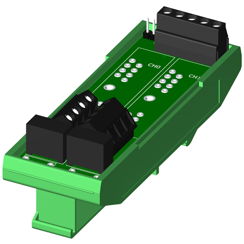 Dual channel backpanel, DIN rail mount, for SCM5B modules