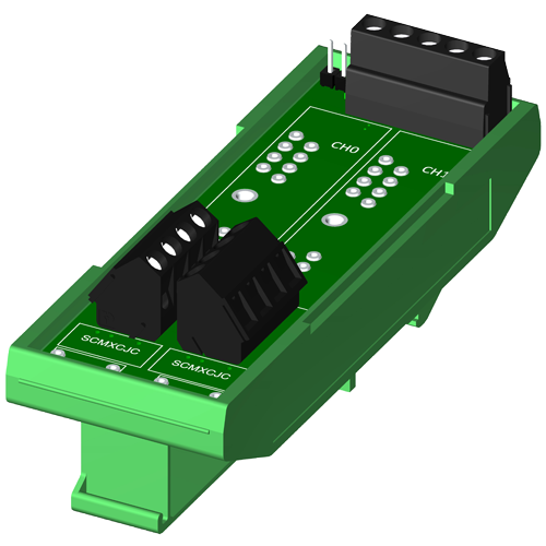 Dual channel backpanel, DIN rail mount, no CJC, for SCM5B modules