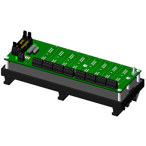Non-multiplexed, 8 channel backpanel, no CJC, with DIN rail mounting option, for SCM5B modules