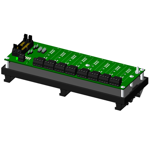 Multiplexed, 8 channel backpanel with DIN rail mounting option, for SCM5B modules