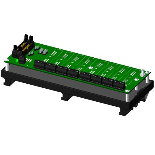 Multiplexed, 8 channel backpanel, no CJC, with DIN rail mounting option, for SCM5B modules