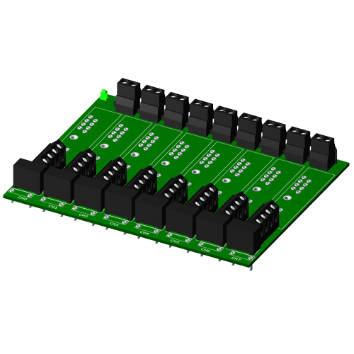 Non-multiplexed, 8 channel backpanel, for SCM5B modules